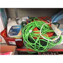 2 Totes of Electric Cords & Motor Oil