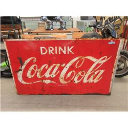 Large Vintage 1960s Embossed Steel Coca-Cola Sign