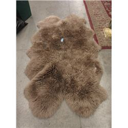 Large Brown Sheepskin Carpet - Store Return