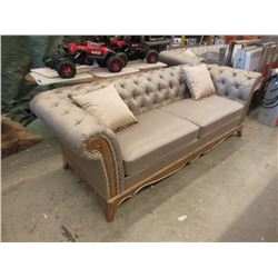 "New 91"" Wide Upholstered Button Tufted Sofa"