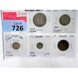 1916 Canadian .925 Silver Coin Set