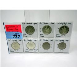 Seven Canadian 1960's Half Dollar Coins