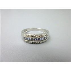 Diamond & Tanzanite Channel Set Ring