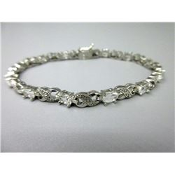 6.84 CT White Topaz & Diamond Tennis Bracelet