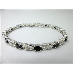 Diamond & Blue Sapphire Infinity Link  Bracelet