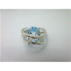 Large Blue Topaz & Diamond Wrap Ring
