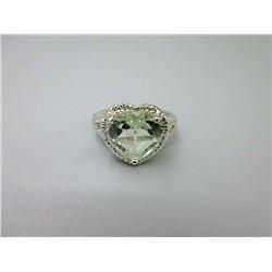 Green Amethyst & Diamond Sweetheart Ring
