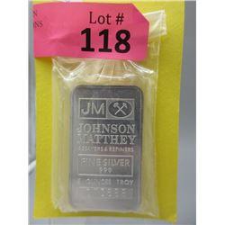 5 Oz. Johnson Matthey .999 Fine Silver Bar