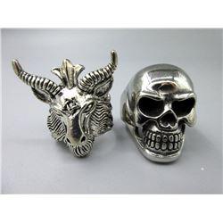Man's Biker Skull Ring & Baphomet Horned Ring