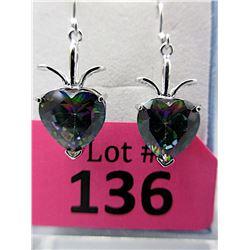 New Large Mystic Topaz Heart Dangle Earrings