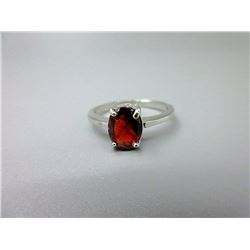 Sterling Silver Oval Garnet Solitaire Ring