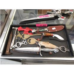 Tray of Vintage Bottle Openers and Small Knives