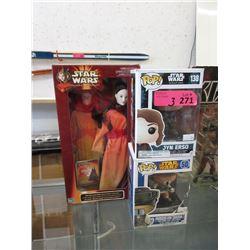 2 Star Wars Funko Pops & Queen Amidala Figurine