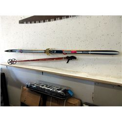 Vintage Wood Touring Skis with Bamboo Poles