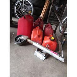 5 Gas Cans & a Marine Wheel