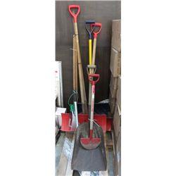 9 Piece Lot of Shovels & Garden Tools