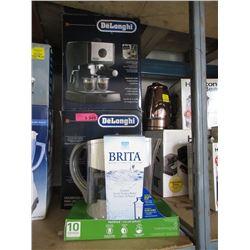 2 DeLonghi Espresso Machines & Brita Pitcher