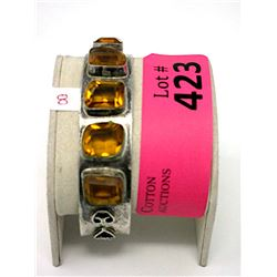 Vintage Faceted Amber Glass Cuff Bracelet
