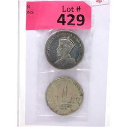 1935 & 1939 Canadian Silver Dollar Coins - .800