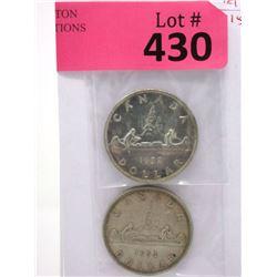 1952 & 1953 Canadian Silver Dollar Coins - .800