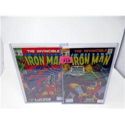 "2 Vintage ""Invincible Iron Man"" 15¢ Marvel Comics"