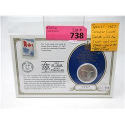 1967 Canadian Centennial Silver Dollar & Stamp Set