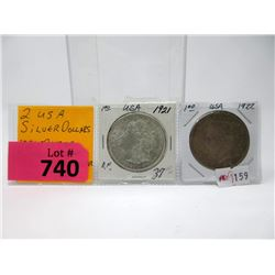 Two 1920's US .900 Silver Dollar Coins