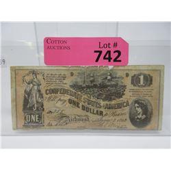 1862 US Confederate $1 Bank Note