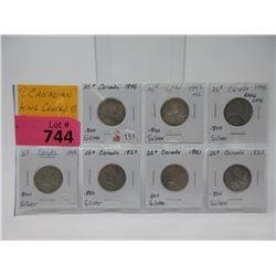 Seven Canadian .800 Silver Quarters