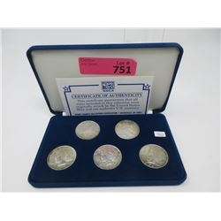 US Peace Dollar Five Coin Set in Fitted Case
