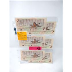 Six 1986 Canadian $2 Bills - Sequentially Numbered