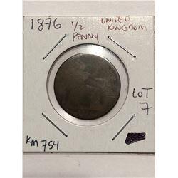 Rare 1876 United Kingdom 1/2 Penny Book Number KM 754
