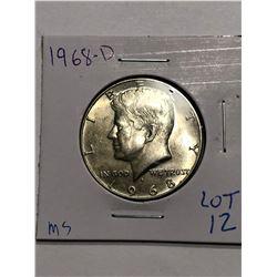 1968 D Silver Kennedy Half Dollar in MS High Grade