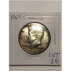 1968 D Silver Kennedy Half Dollar Toning Nice US Coin