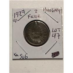 1927 BP 2 Filler Hungary Coin Book Number KM 506