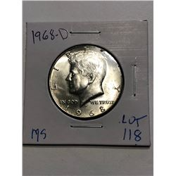 1968 D Silver Kennedy Half Dollar in MS High Grade