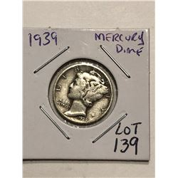 1939 P Silver Mercury Dime Nice Early US Coin