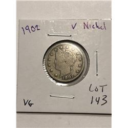 1902 Liberty Head V Nickel Nice Early US Coin VG Grade