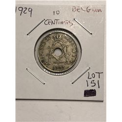 Early 1929 Belgium 10 Centimes