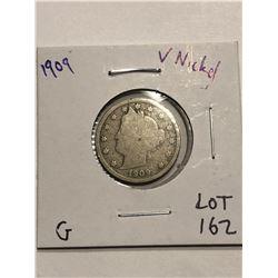 1909 Liberty Head V Nickel Good Grade Nice Early US Coin