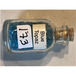 Glass Jar Filled with BLUE TOPAZ Gemstones 25 Grams