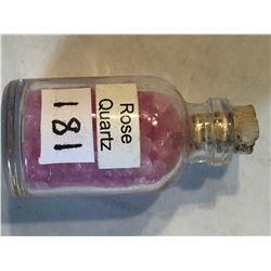 Glass Jar Filled with ROSE QUARTZ Gemstones 25 Grams
