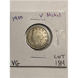 1900 Liberty Head V Nickel Very Good Grade Nice Early US Coin