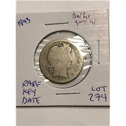 1893 Rare Key Date Liberty Head V Nickel Nice Early US Coin