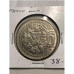 1982 Mexico 50 Cents Coin in MS High Grade Very Detailed