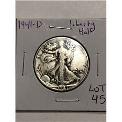 1941 D Walking Liberty Silver Half Dollar Nice Early US Coin
