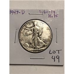1947 D Walking Liberty Silver Half Dollar Nice Early US Coin