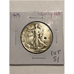 1945 P Walking Liberty Silver Half Dollar Nice Early US Coin