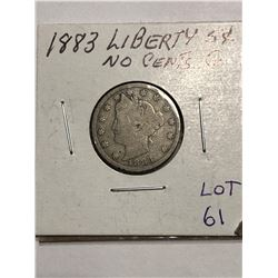 1883 NO CENTS Liberty Head V Nickel 1st Year Good Grade