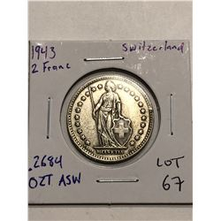 Beautiful 1943 Silver Switzerland 2 Francs .2684 ASW